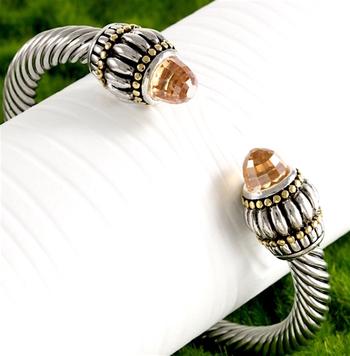3.25ctw Citrine Bangle Cable Bracelet
