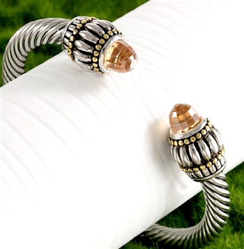 3.25ctw Citrine Bangle Cable Bracelet