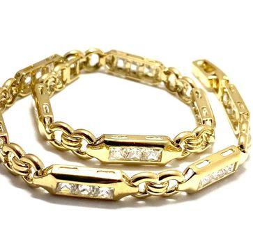 "3.25ctw Diamonique Tennis Bracelet Yellow Gold & 925 Sterling Silver 7"" Long"