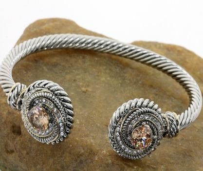 3.25ctw Golden Topaz Bangle Cable Bracelet