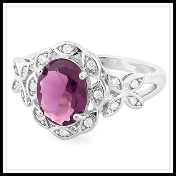 3.40ctw Amethyst & White Sapphire Ring sz 7
