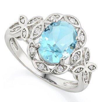 3.40ctw Sky Blue Topaz & White Sapphire Ring size 8