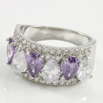 3.50ctw Amethyst & White Sapphire Ring sz 7