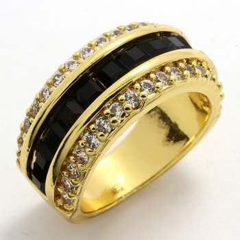 3.50ctw Black & White Sapphire Ring size 7