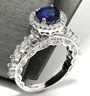 3.50ctw Blue & White Sapphire Ring