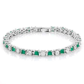 3.50ctw Emerald & White Sapphire Tennis Bracelet