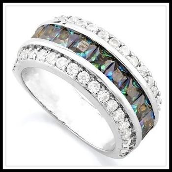 3.55ctw Blue Mystics Topaz & White Sapphire Ring Size 7