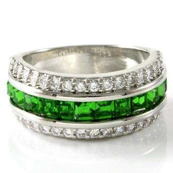 3.55ctw Emerald & White Sapphire Ring sz 7