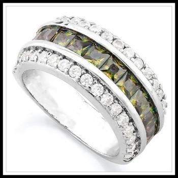 3.55ctw Green Mystic Topaz & White Sapphire Ring sz 8