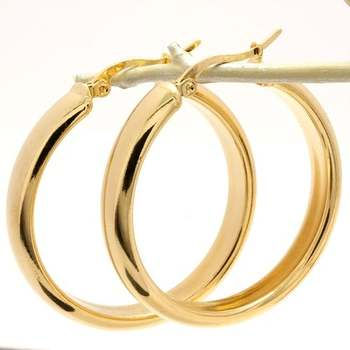 35mm  14k Gold Overlay Hoop Earrings