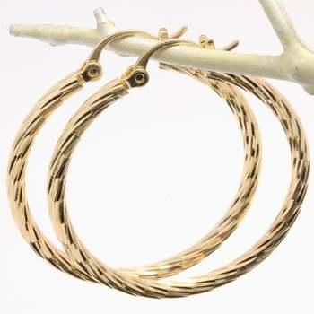 35mm Fine Jewelry Brass with 3x Gold Overlay Diamond Cut Hoop Earrings