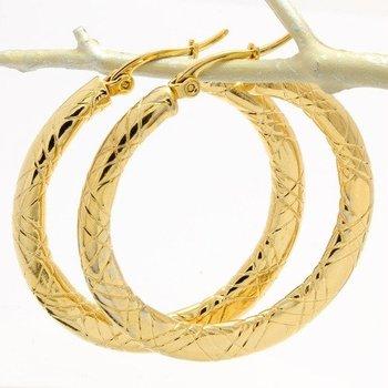 35mm Fine Jewelry Brass with 3x Gold Overlay Hoop Earrings