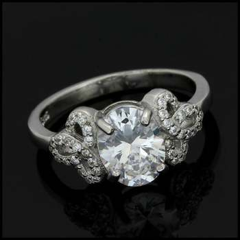 3.65ctw Diamonique Engagement Ring in .925 Sterling Silver Size 7