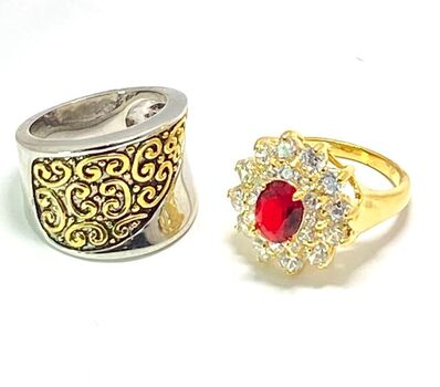 3.70ctw Man-made Ruby & Diamonique Lot of 2 Rings Size 7