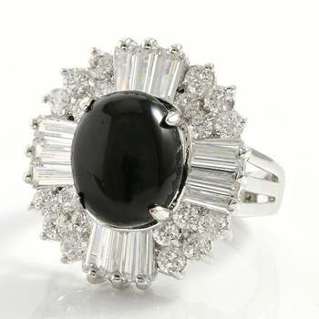 3.75ctw Created Black Onyx & White Sapphire Ring Size 7