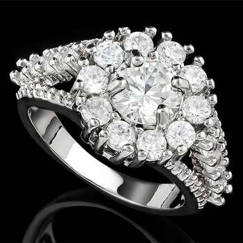 3.94ctw White Sapphire Flower Ring Size 7