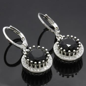 3.95ctw Black & White Sapphire Earrings