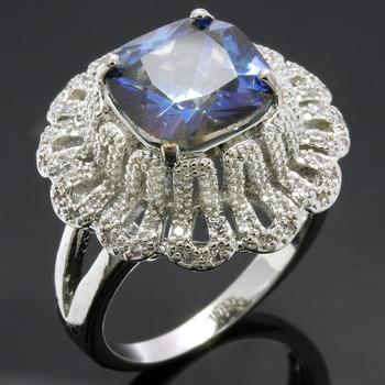 3.95ctw Green Mystic Topaz & White Sapphire Ring sz 7