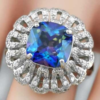 3.95ctw Mystic Topaz & White Sapphire Ring sz 7