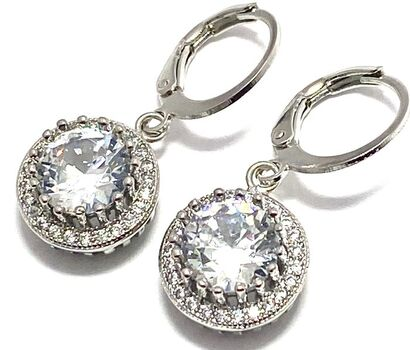 3.95ctw White Sapphire 14k White Gold Overlay Earrings