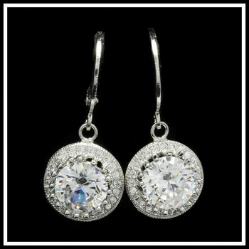 3.95ctw White Sapphire Fine Jewelry Brass with 3x Gold Overlay Earrings