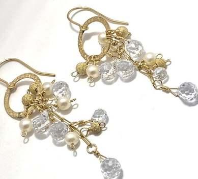 3mm Fresh Water Pearl & 10.0ctw Briolette White Topaz Nina Nguyen Design Earrings