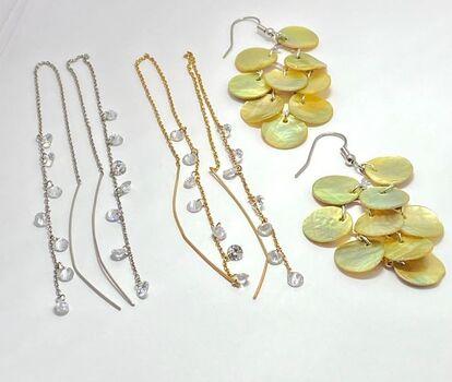 3pc Pair Earring Lot- Mother of Pearl Dangle Earrings, Yellow & White Tone Long Chain Topaz Dangle Earrings