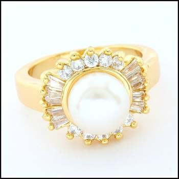 3x Yellow Gold Overlay, Fresh Water White Pearl & White Sapphire Ring Size 5.5