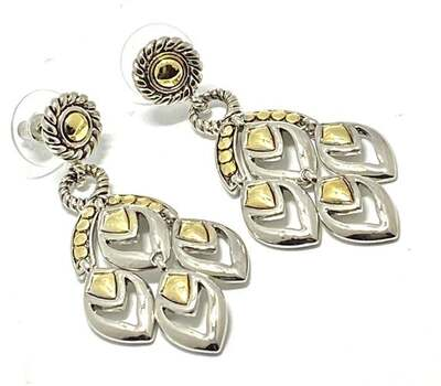 4 Leaf Drop Earrings Multi Tone Platinum & 18k Yellow Gold Over