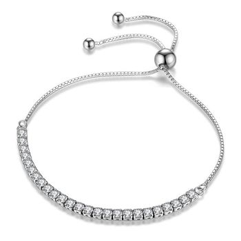 4.00ctw AAA+ Grade White Cubic Zirconia Fine Jewelry Brass with  Gold Overlay Adjustable Bracelet