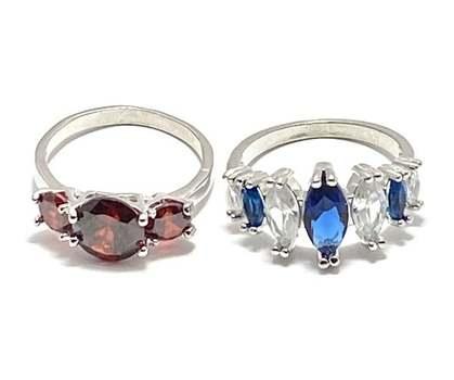 4.0ctw Garnet & 2.0ctw Sapphire & 1.0ctw White Diamonique Lot of 2 Rings Size 7.5