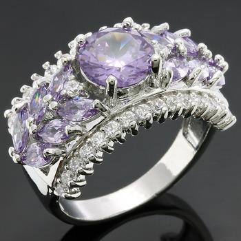 4.10ctw Amethyst & White Sapphire Ring sz 7