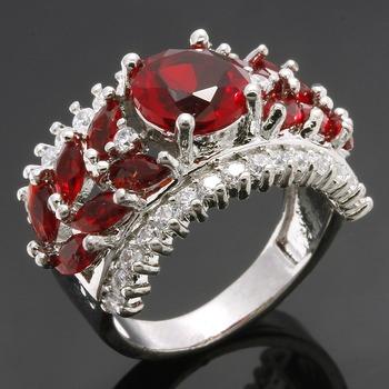 4.10ctw Garnet & White Sapphire Ring sz 7