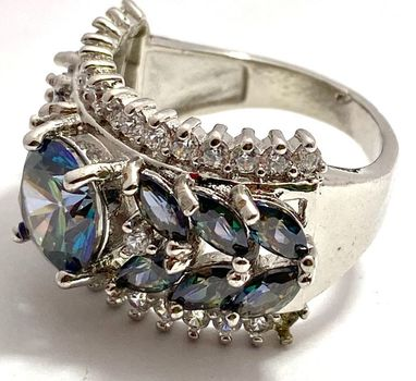 4.10ctw Green Mystic Topaz & White Sapphire Ring sz 7
