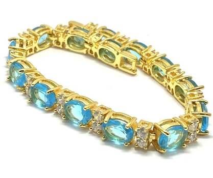 42.0ctw Blue Tourmaline & 1.0ctw White Diamonique Tennis Bracelet
