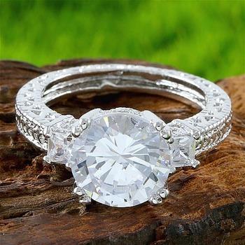 4.20ctw White Topaz Engagement Ring size 8