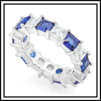 4.25ctw Blue and White Sapphire Ring Size 7