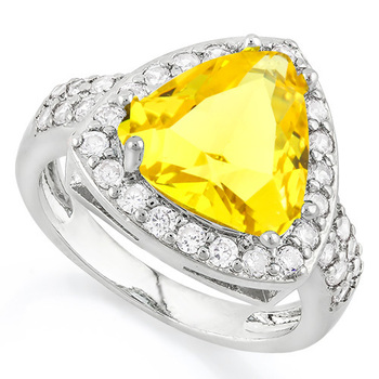 4.30ctw Citrine & White Sapphire Ring Size 7