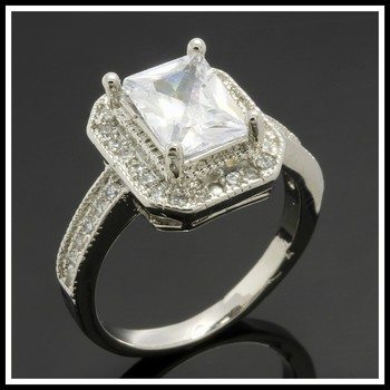 4.35ctw White Sapphire White Gold Overlay Ring Size 8