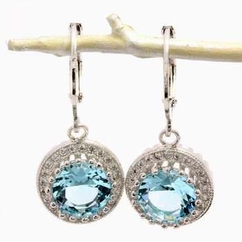 4.40ctw  Blue & White Topaz Earrings
