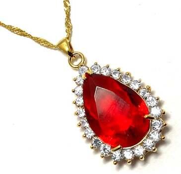 44.0ctw Red Corundum & 1.75ctw White Diamonique Necklace