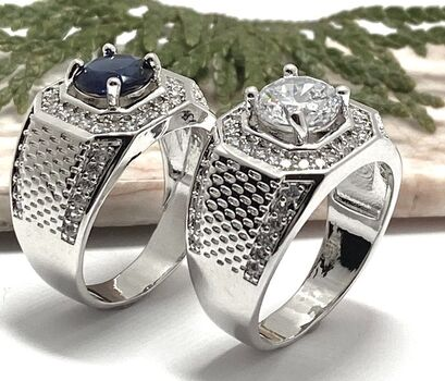 4.40ctw Sapphire & Cubic Zirconia AAA Grade Lot of 2 Rings Size 11 & 11