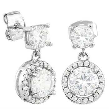 4.45ctw White Sapphire  14k Gold Overlay Earrings