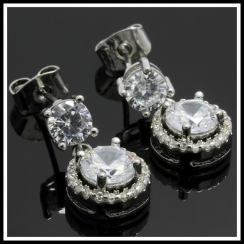 4.45ctw White Sapphire Fine Jewelry Brass with 3x 14k Gold Overlay Earrings