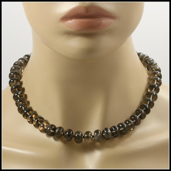 449.5ctw Genuine Smokey Topaz Large Necklace Featuring Sterling Silver Flower Design Clasp Closure