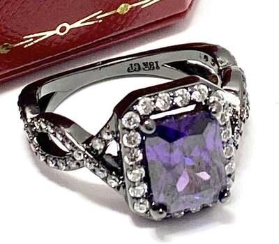 4.50ctw Amethyst & 0.50ctw White Diamonique Ring Size 8