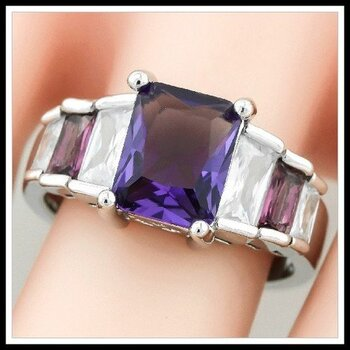 4.60ctw Amethyst & White Sapphire Ring Size 7