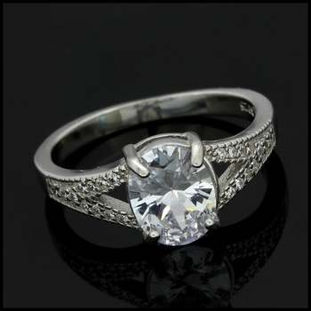 4.65ctw Diamonique Engagement Ring in .925 Sterling Silver Size 8