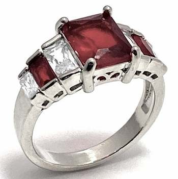 4.75ctw Red Corundum & 0.75ctw White Diamonique Ring Size 7
