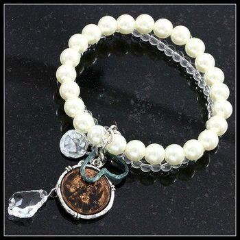 4-7mm Beaded Two Strand Stretch Bracelet with Penny Charm